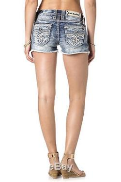 Sz 30 New Rock Revival Jean Shorts Jewel Crystal Clair H400 Blue Distress Buckle