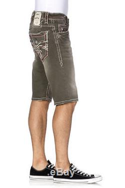 Sz 40 New Rock Revival Men's Jeans shorts Ocean Wash Denim with Red White Stitch