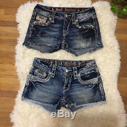 Womens Lot Of Rock Revival Embellished Shorts 4 Pairs Sz 25 Stretch FANTASTIC
