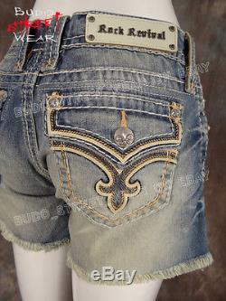 Womens ROCK REVIVAL Shorts ALLEGRA Leather Fleurs & Peach Trim Style # RP9013H3