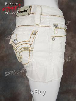 Womens ROCK REVIVAL Shorts FLO in WHITE with Gold Stitch Trim Style # RJ8397H2