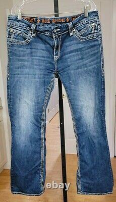 Womens Rock Revival Liz Boot Jeans Size 34 Short Dark Wash with Light Thigh