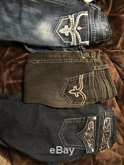 Womens Rock Revival and Miss Me Jeans Skinny Boot Cut Shorts Lot Size 25 26